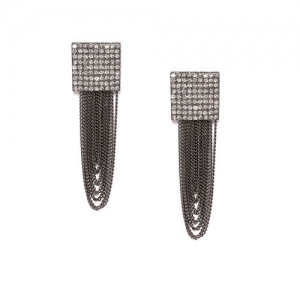ToniQ Gunmetal-Toned Square Drop Earrings