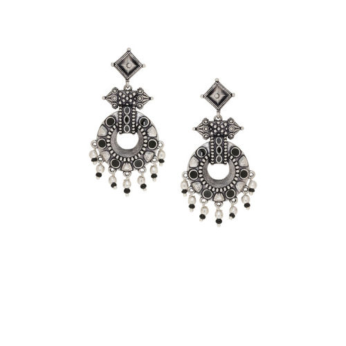 Voylla Silver-Plated Contemporary Oxidised Drop Earrings