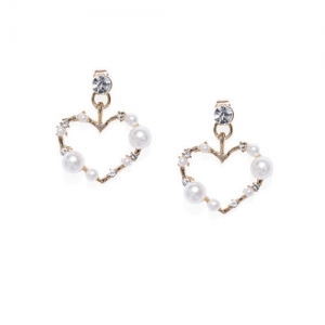 ToniQ Gold-Toned Heart Shaped Drop Earrings
