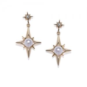 ToniQ Gold-Toned Star Shaped Drop Earrings