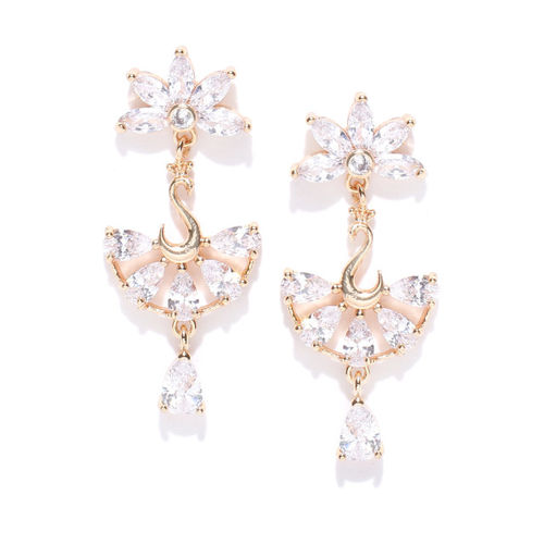 Carlton London Gold-Plated CZ Stone-Studded Drop Earrings