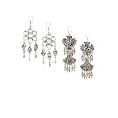 ZeroKaata Women Pack Of 2 Silver-Toned Contemporary Drop Earrings