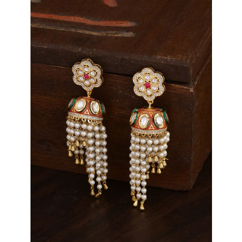 Voylla Gold-Toned & White Dome Shaped Jhumkas