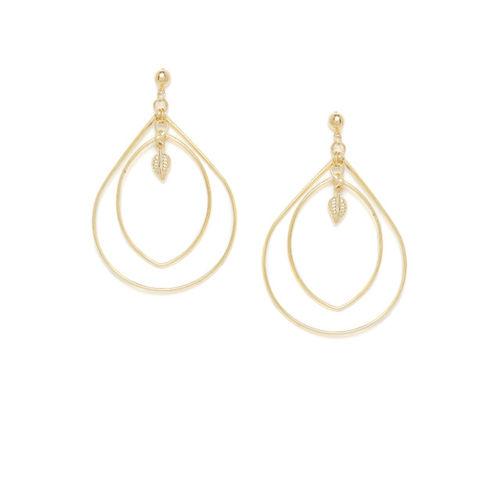 ZeroKaata Women Pack Of 2 Gold-Toned Contemporary Drop Earrings