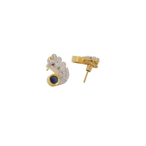 Voylla Brass-Plated Gold-Toned & White Contemporary Studs