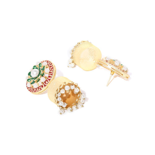 Sanara Green & Red Gold-Plated Enamelled Handcrafted Textured Dome Shaped Jhumkas