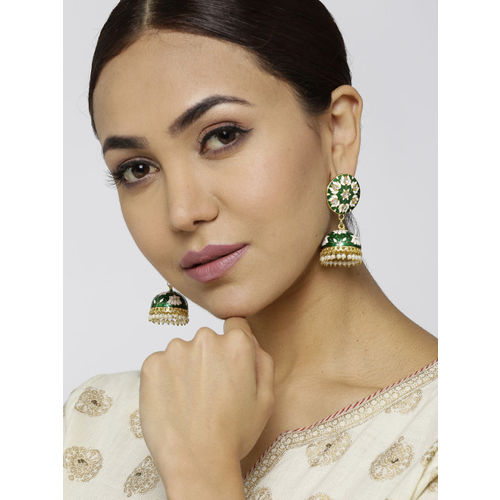 Sanara Green & Off-White Gold-Plated Enamelled Handcrafted Kundan Dome Shaped Jhumkas