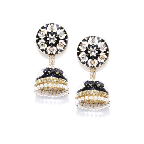 Sanara Black & Off-White Gold-Plated Enamelled Handcrafted Kundan Dome Shaped Jhumkas