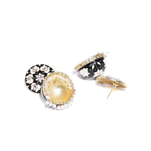 Sanara Black & Off-White Gold-Plated Enamelled Handcrafted Kundan Dome Shaped Jhumkas