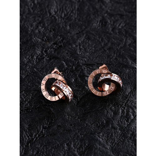 E2O Rose Gold Circular Drop Earrings