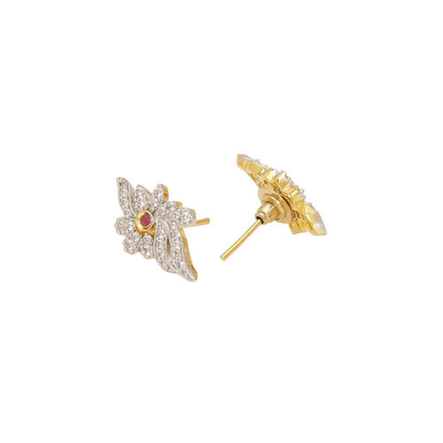 Voylla Brass-Plated White & Red Cubic Zirconia Contemporary Studs