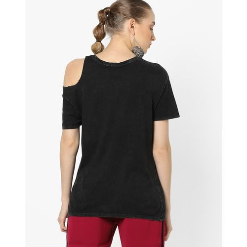 TALLY WEiJL Typographic Print Embellished T-shirt
