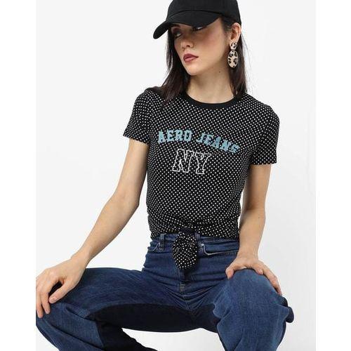 AERO JEANS WOMENS Polka-Dot Print Crew-Neck T-shirt with Branding