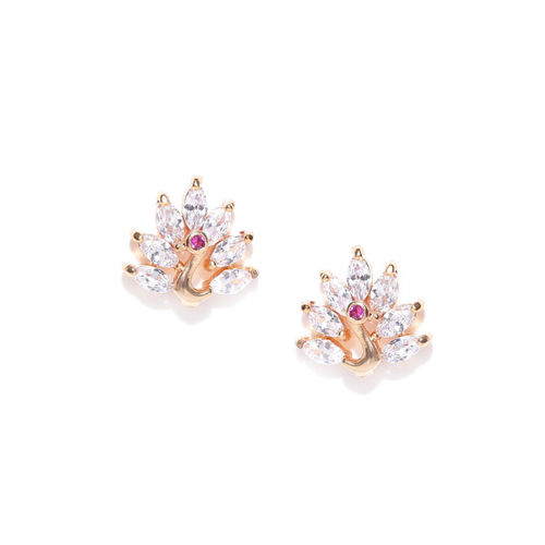 Carlton London Gold-Plated CZ Studded Peacock Shaped Studs