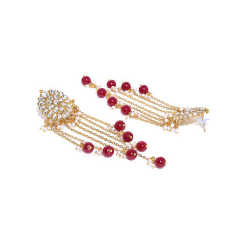 KARATCART Maroon Gold-Plated Floral Beaded Drop Earrings