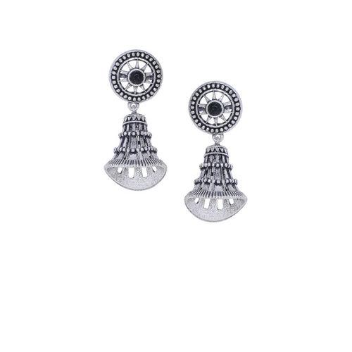 Studio Voylla Silver-Toned & Black Silver-Plated Contemporary Jhumkas