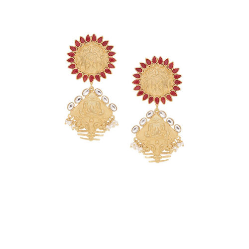Shoshaa Gold-Toned & Red Contemporary Drop Earrings