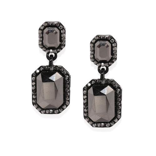 justpeachy Gunmetal-Toned & Black Geometric Drop Earrings