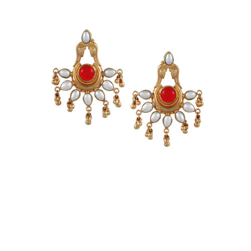 Silvermerc Designs Women Red & Gold-Plated Sterling Silver Handcrafted Drop Earings