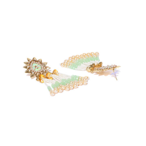 Priyaasi Green & White Gold-Plated Stone-Studed & Beaded Handcrafted Classic Drop Earrings