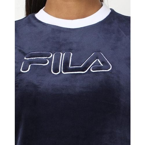 FILA Textured Cropped Crew-Neck T-shirt with Signature Branding