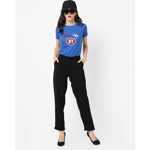AERO JEANS WOMENS Typographic Print Crew-Neck T-shirt