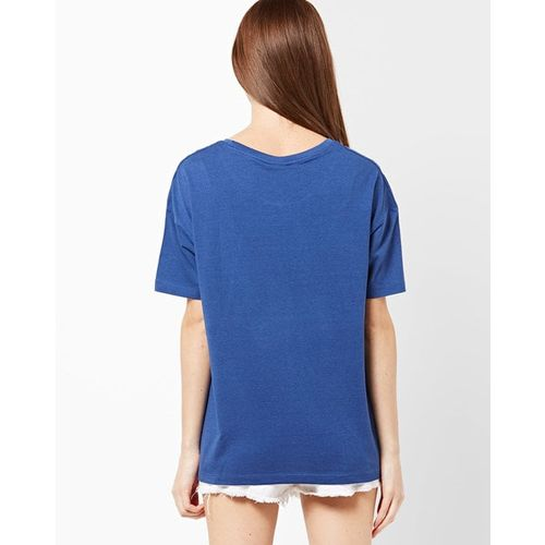 Blue Saint Relaxed Fit Typographic Print Crew-Neck T-shirt
