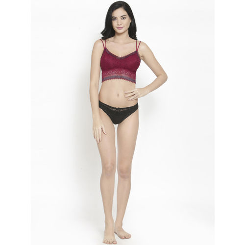 PrettyCat Maroon Lace Non-Wired Lightly Padded Bralette Bra PC-SB-5182-MAH-36B