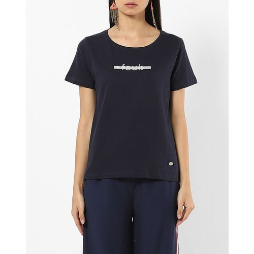 French Connection Heathered Crew-Neck T-shirt with Signature Branding