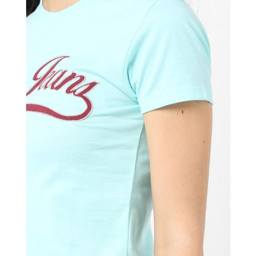AERO JEANS WOMENS Crew-Neck T-shirt with Brand Applique