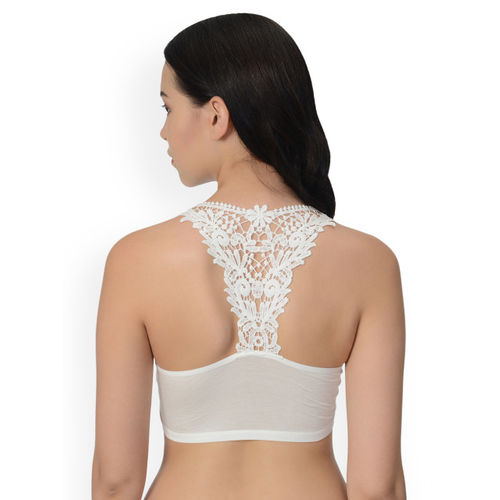 mod & shy White Solid Non-Wired Lightly Padded Bralette Bra MS40