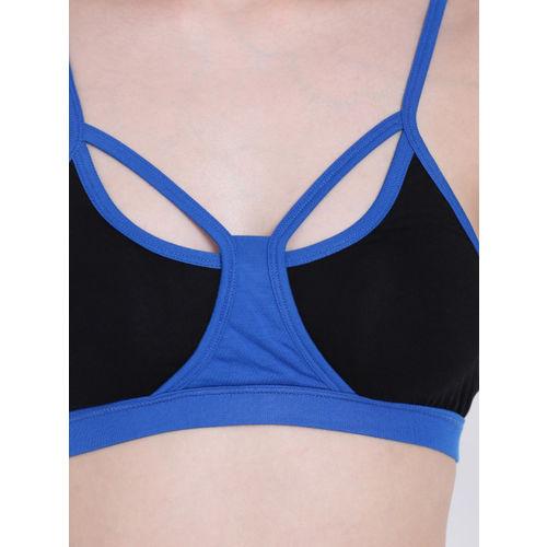 La Intimo Black & Blue Colourblocked Non-Wired Lightly Padded T-shirt Bra LIFBR003BK0