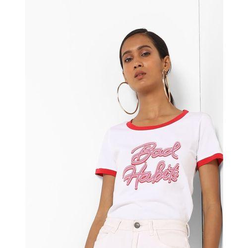 AJIO Typographic Print Crew-Neck T-shirt