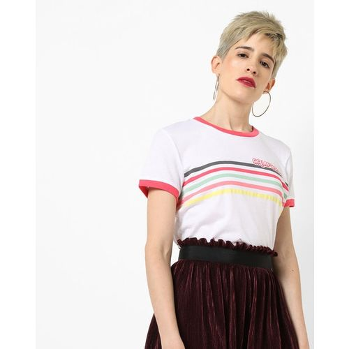 BRAVE SOUL Crew-Neck T-shirt with Placement Stripes