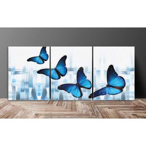 SAF SAF Butterfly Abstract Multieffect UV Textured Panel Painting (Set of 3, 12 Inches X 27 Inches (SANFC12104) Digital Reprint 12 inch x 27 inch Painting