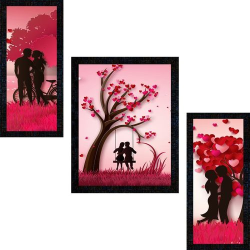 Poster N Frames Set Of 3 Love couple Digital Reprint 14 inch x 22 inch Painting