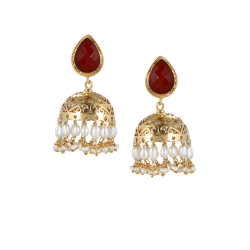 Silvermerc Designs Gold-Plated & Red Jhumkas