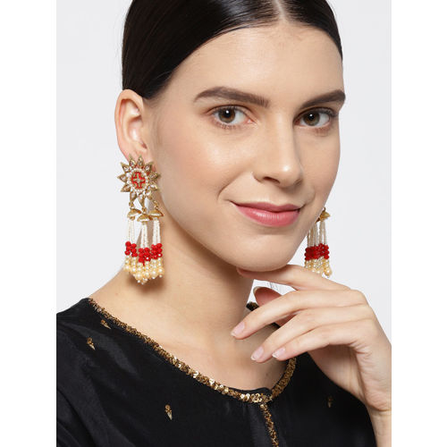 Priyaasi White & Red Gold-Plated Stone-Studed & Beaded Handcrafted Classic Drop Earrings