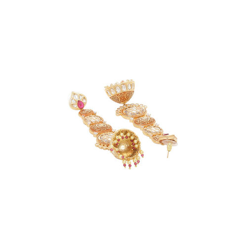 Tistabene Pink & Gold-Plated Classic Enamelled Jhumkas