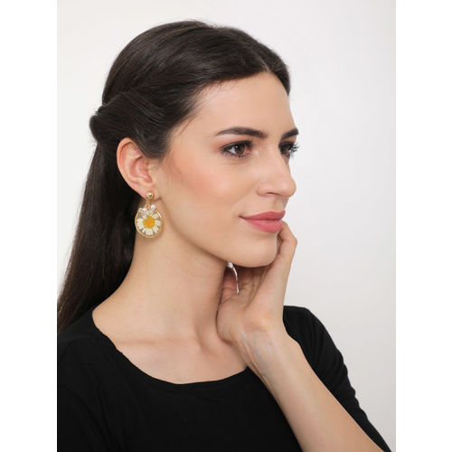 SASSAFRAS Gold-Toned & Off-White Contemporary Drop Earrings