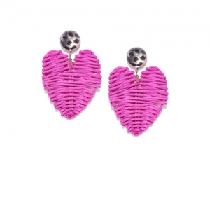 OOMPH Pink & Gold-Toned Handcrafted Heart Shaped Drop Earrings