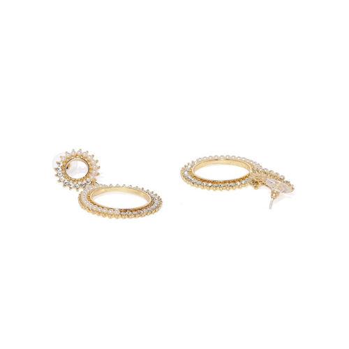 Golden Peacock Gold-Toned & White Circular Drop Earrings