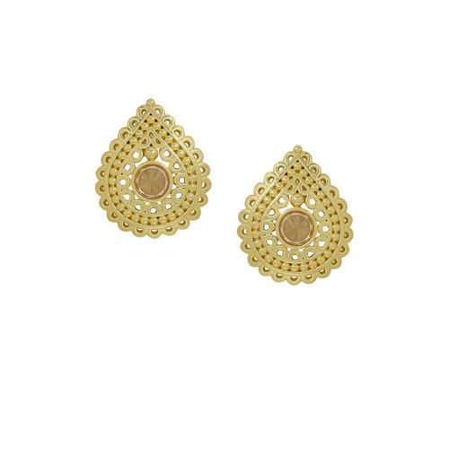 Voylla Brass Plated Gold-Toned & Beige Handcrafted Teardrop Shaped Studs