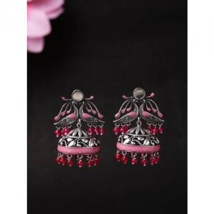 Voylla Silver-Toned & Pink Geometric Jhumkas
