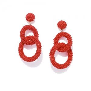OOMPH Red Handcrafted Circular Drop Earrings