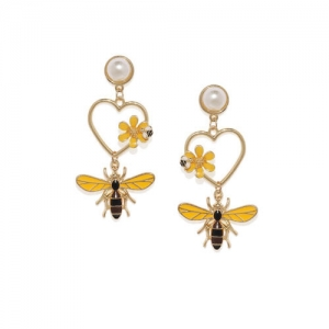 Golden Peacock Gold-Toned & Off-White Gold-Plated Animal Shaped Drop Earrings