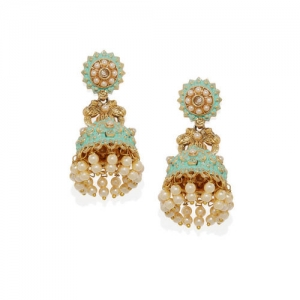 Golden Peacock Gold-Toned & Green Contemporary Jhumkas