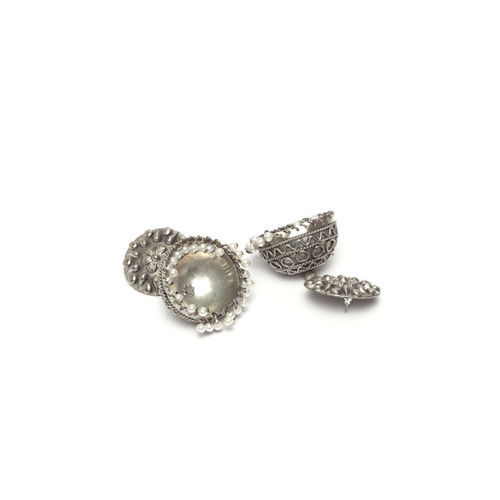 Moedbuille Silver-Plated Dome Shaped Jhumkas