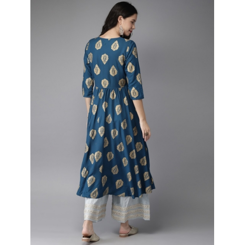 HERE&NOW Teal Blue & Gold-Coloured Printed A-Line Kurta