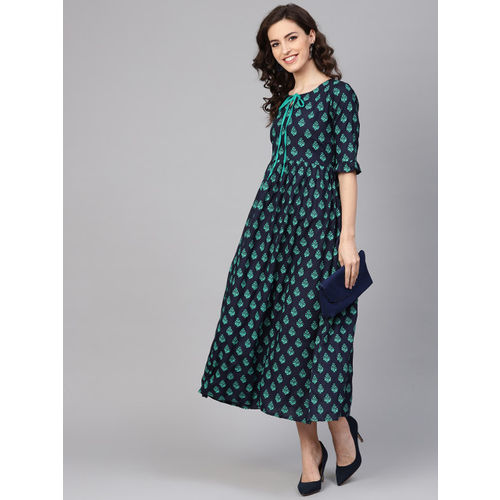GERUA Women Navy Blue & Green Printed A-Line Dress